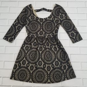 Accidentally In Love Black Lace Skater Mini dress